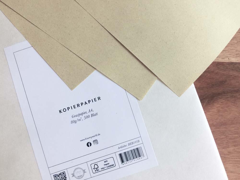Kopierpapier, 80g, Graspapier, ökologisch, nachhaltig, Kiss My World