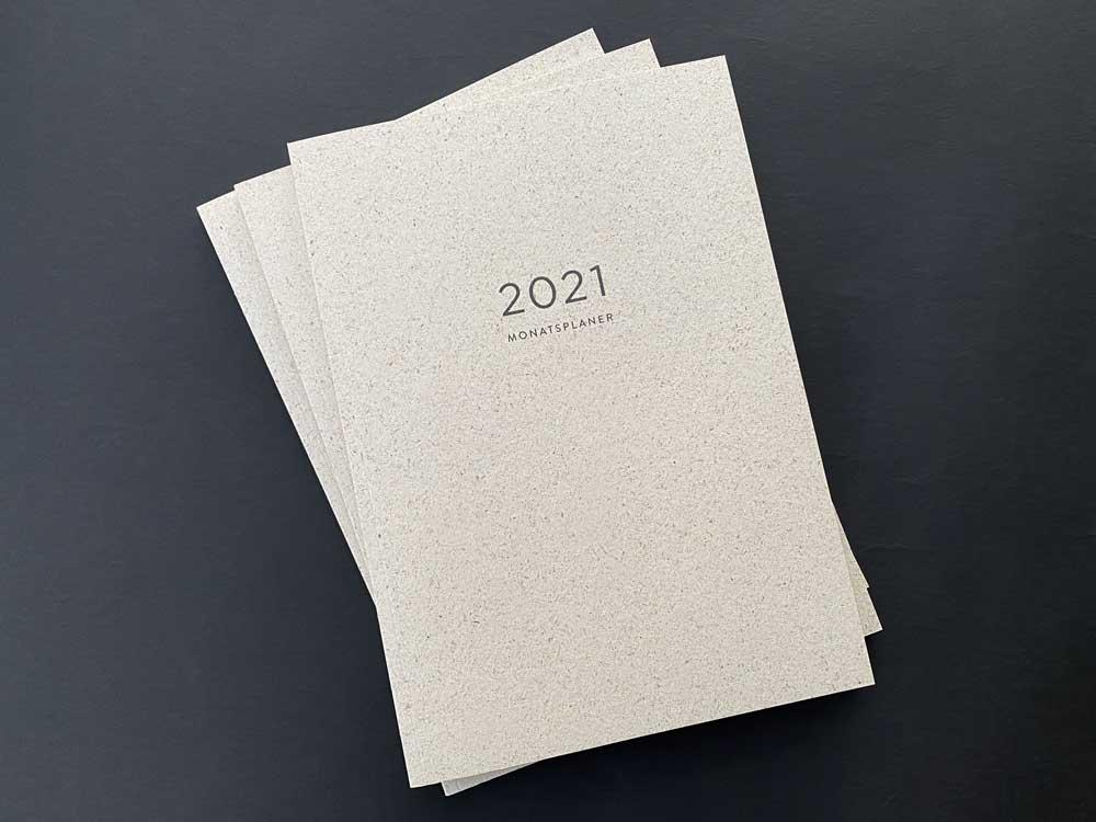 Graspapier, Naturpapier, A4, Cradle to Cradle-Farben, Kalender, Notizen, Checkliste, Aufsicht, Monatsplaner 2021