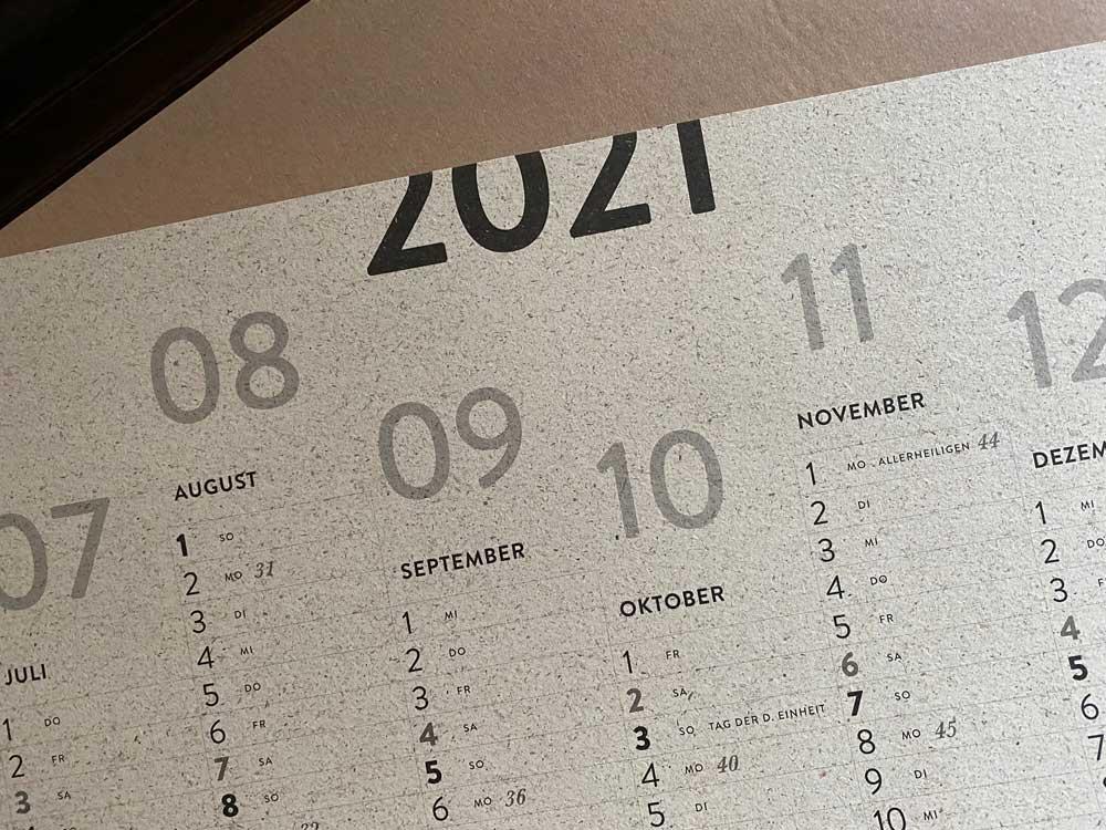 Posterkalender, Jahresplaner, Wandkalender 2021, A1