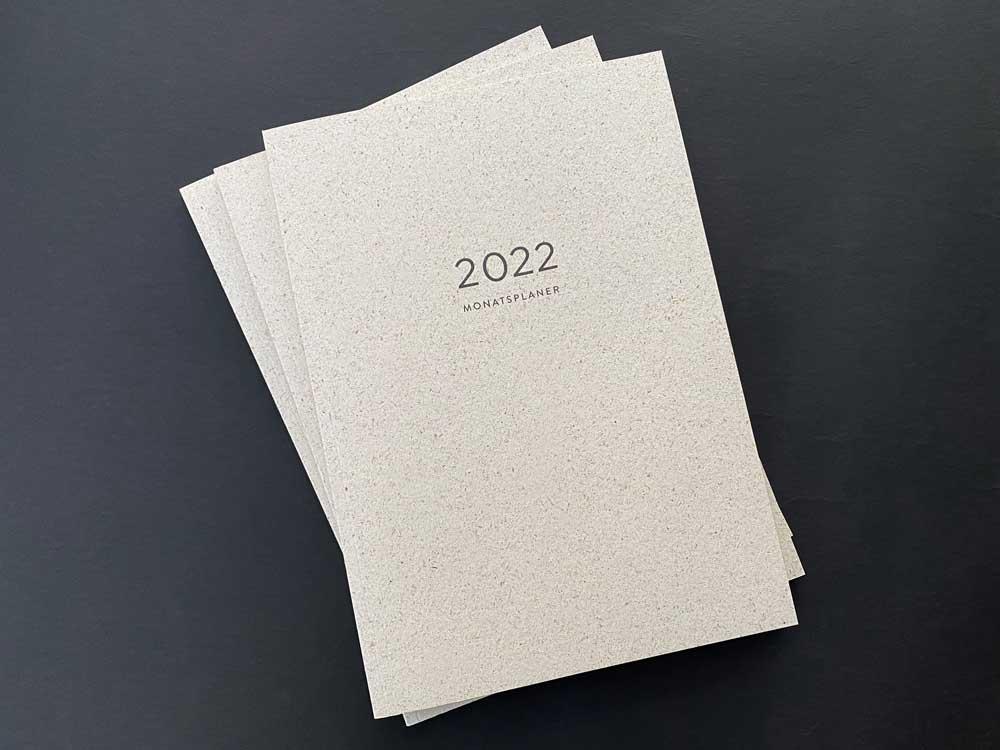 Graspapier, Naturpapier, A4, Cradle to Cradle-Farben, Kalender, Notizen, Checkliste, Aufsicht, Monatsplaner 2022