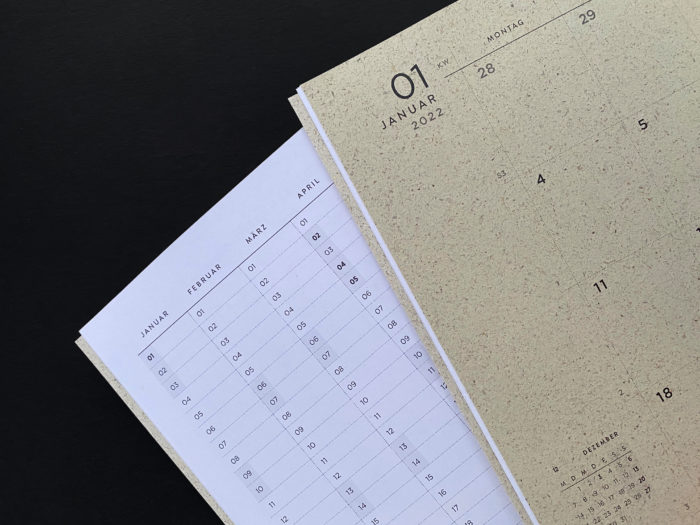 Graspapier, Naturpapier, A4, Cradle to Cradle-Farben, Kalender, Jahresübersicht