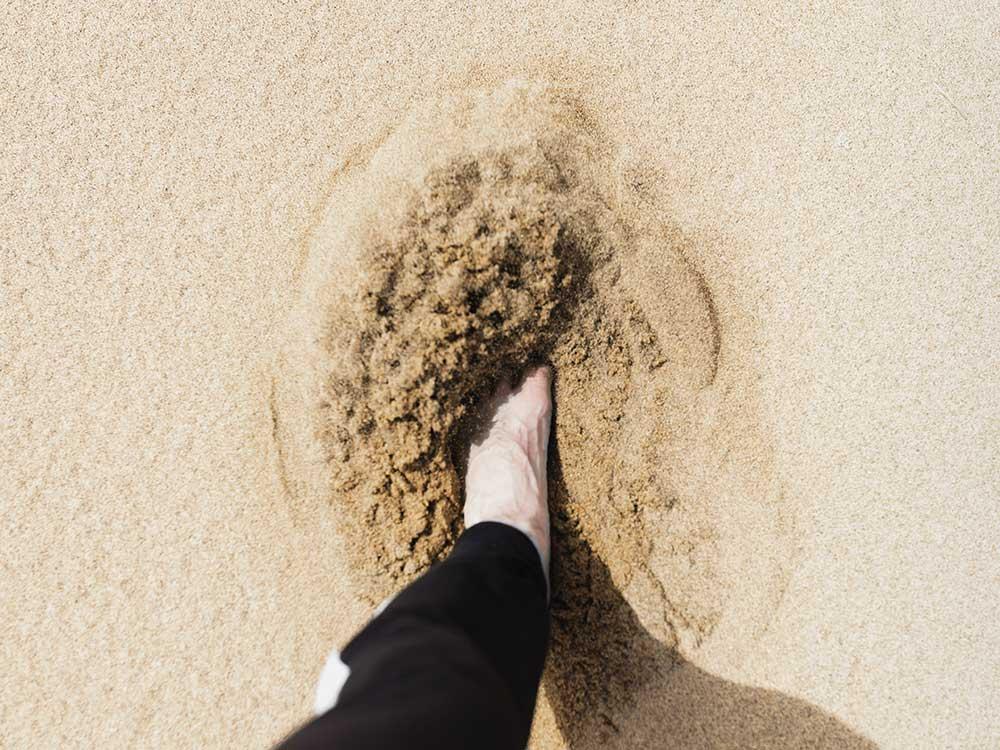 Fußabruck Strand Kiss My World